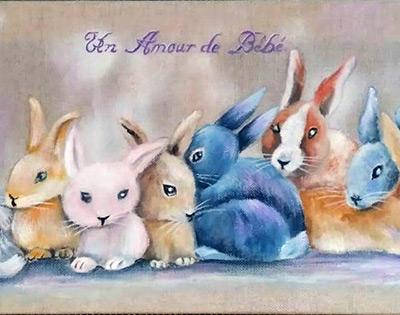 Toile peinte avec motifs lapins
