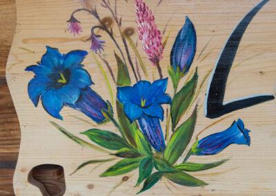 peinture de fleurs de montagne et gentianes