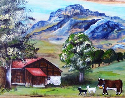poya avec maison et paysage de montagne